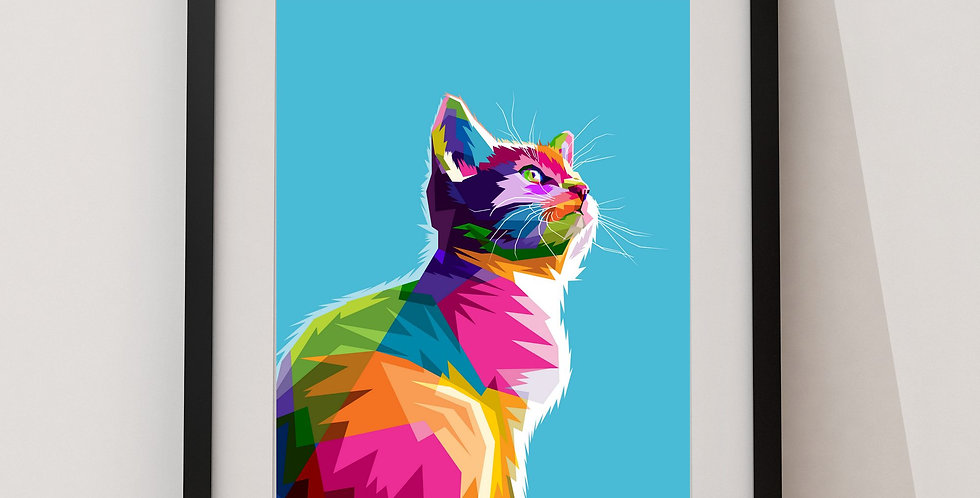 Affiche Chat multicolors origami 79