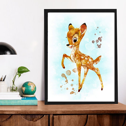 Affiche Bambi watercolor