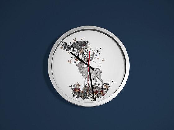 Horloge imprimé Cerf et fleurs