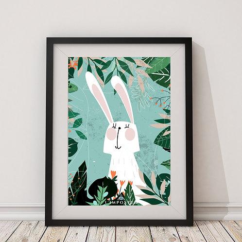 Affiche lapin entouré de feuilles
