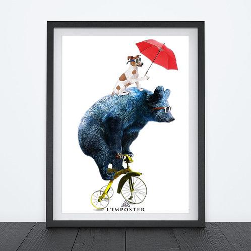 Affiche Ours et chien sur vélo