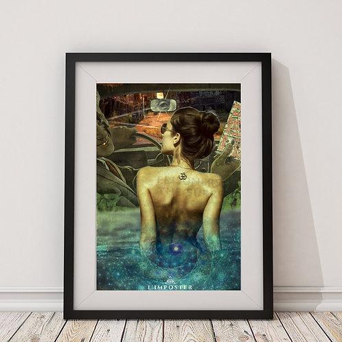 Affiche femme dans la piscine