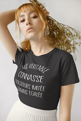 T-shirt Moi la vrai connasse toujours imitée citation drole
