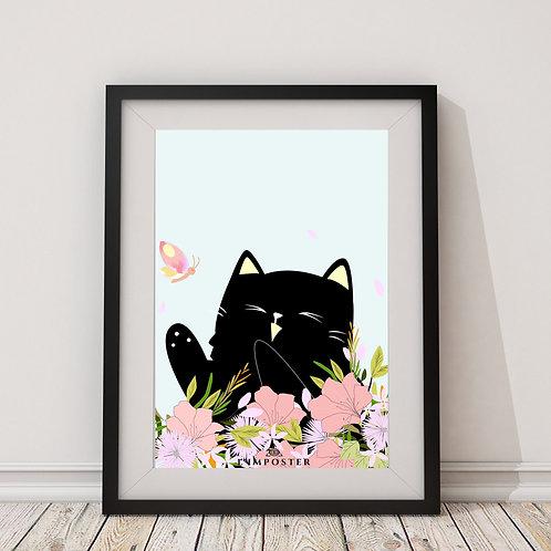 Affiche chat et fleurs