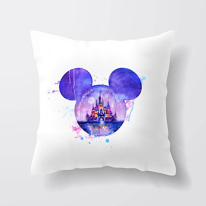 Housse de coussin tête Mickey reflet Château