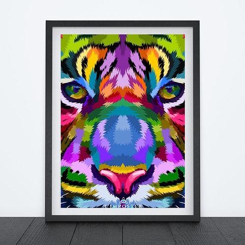 Affiche Tigre multicolors origami