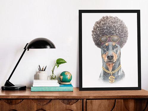 Affiche Illustration chien afro