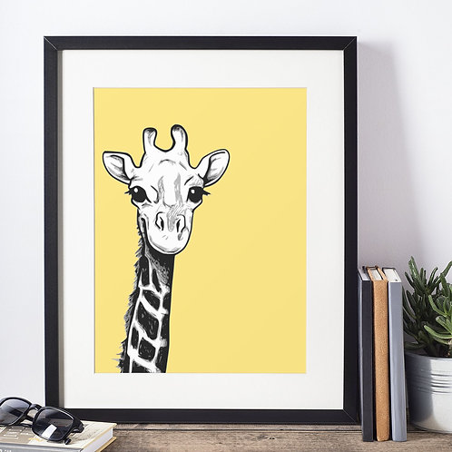 Affiche illustration girafe fond jaune