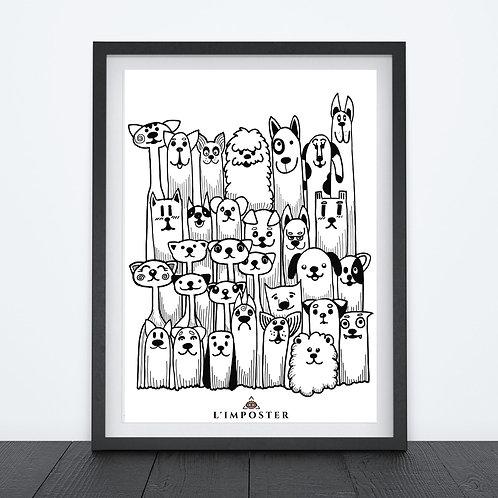 Affiche dessin chiens