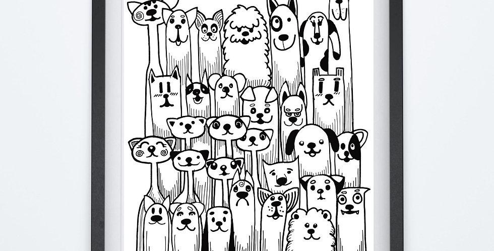 Affiche dessin chiens 152