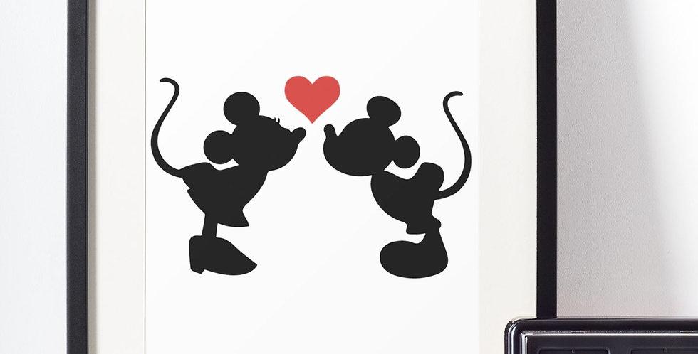 Affiche Mickey & Minnie bisous 435