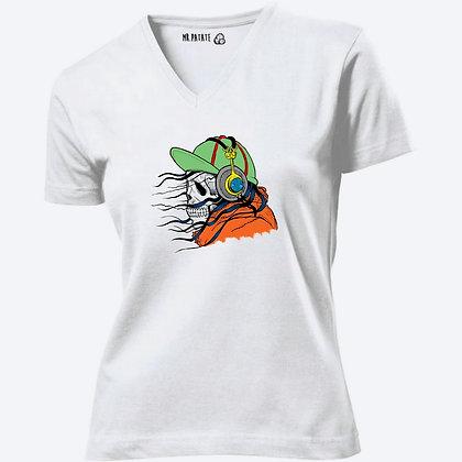 T-shirt Femme Col V Tête de mort vintage