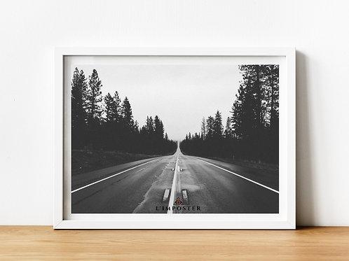 Affiche route noir et blanc