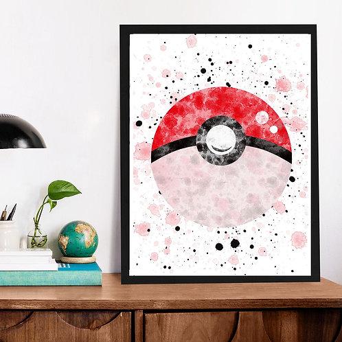 Affiche Pokéball watercolor