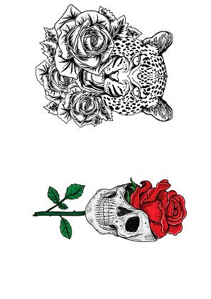 Tatouages éphémères tigre et tête avec rose