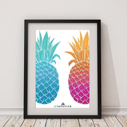 Affiche ananas bleu et rose