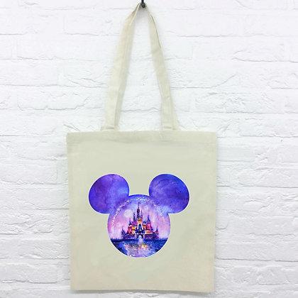 Tote Bag Tête Mickey reflet château Disney