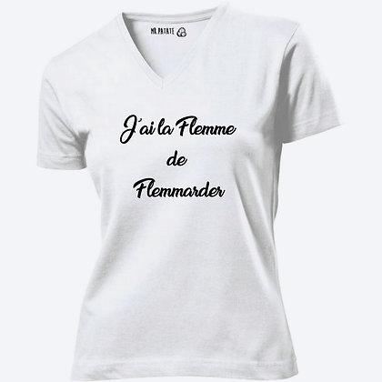 T-shirt Femme Col V J'ai la flemme de flemmarder