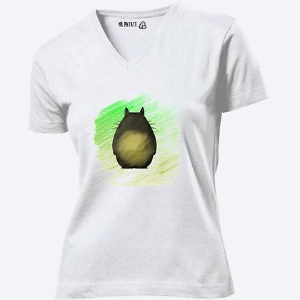 T-shirt Femme Col V Totoro crayon