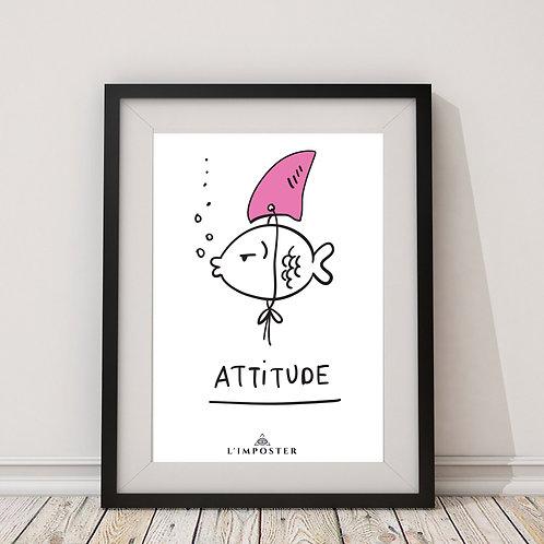 Affiche citation Poisson attitude requin