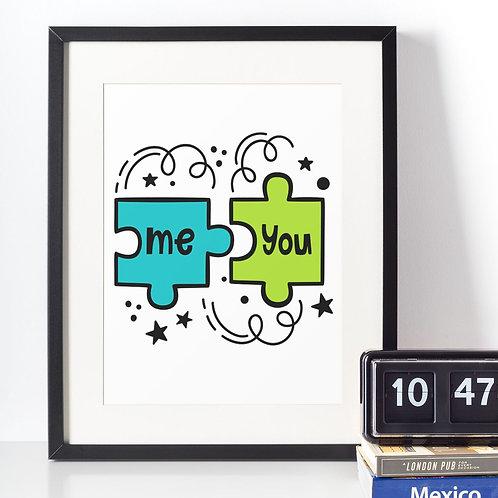 Affiche illustration puzzle me+you