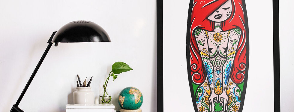 Affiche Illustration femme tatoue 360