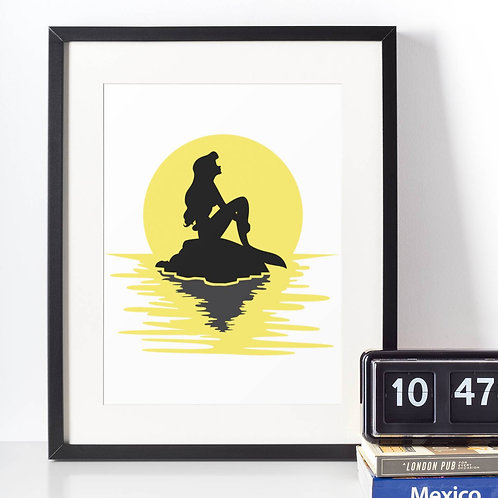 Affiche Dessin Sirène coucher de soleil