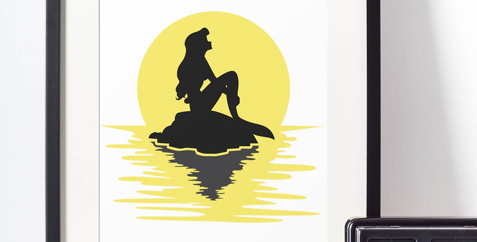 Affiche Dessin Sirène coucher de soleil 503