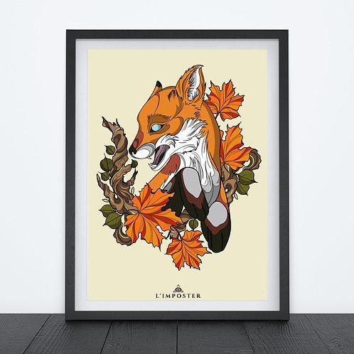 Affiche Renard et fleurs