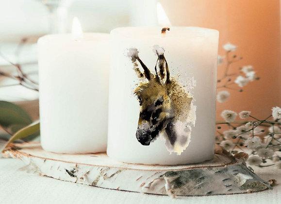 Bougie pas cher, bougie imprimée âne, idée deco tendance pas cher, idée cadeau noël, idée cadeau pas cher cadeau