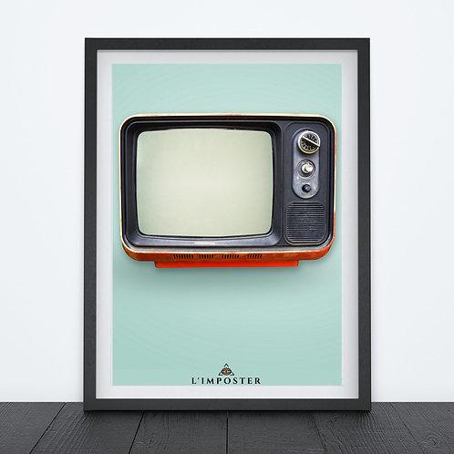 Affiche télévision sur fond bleu