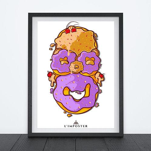 Affiche homer et ses donuts au visage