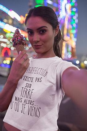 T-shirt la perfection n'existe pas mais alors d'ou je viens drole avec phrase citation