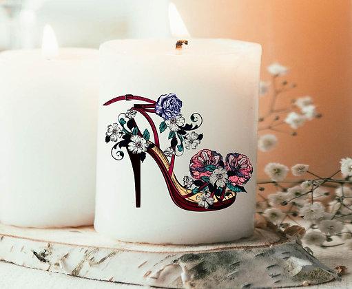 Bougie Imprimée escarpin et fleurs
