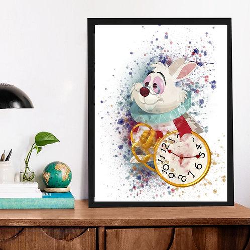 Affiche Alice aux pays watercolor