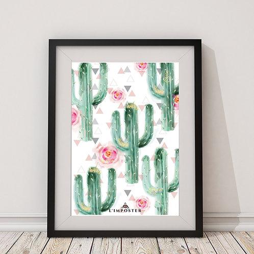 Affiche cactus et roses