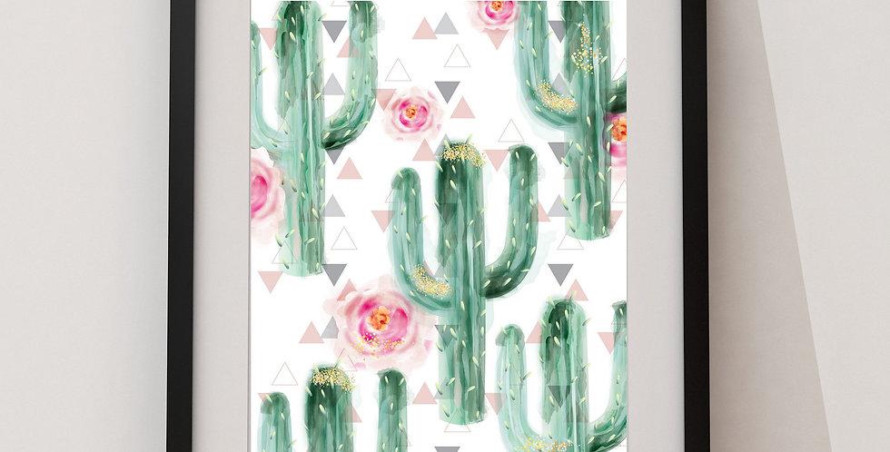 Affiche cactus et roses 185
