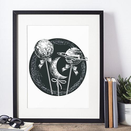 Affiche illustration système solaire