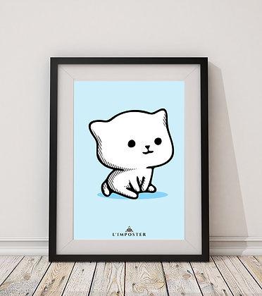 Affiche chats fond bleu 154
