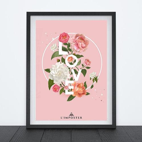 Affiche citation love avec roses