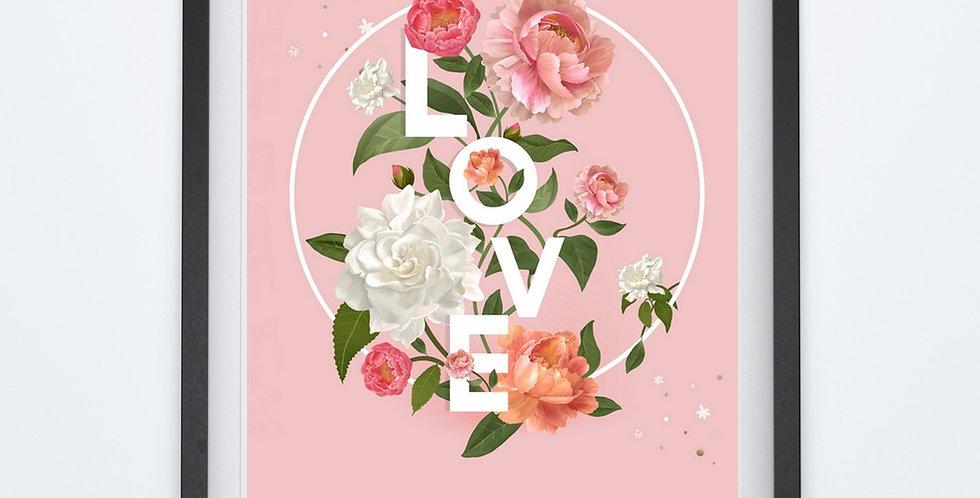 Affiche citation love avec roses 242