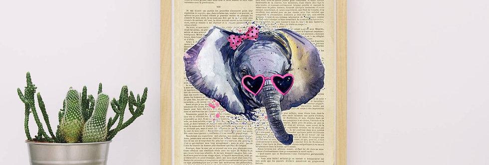Affiche vintage Elephant watercolor