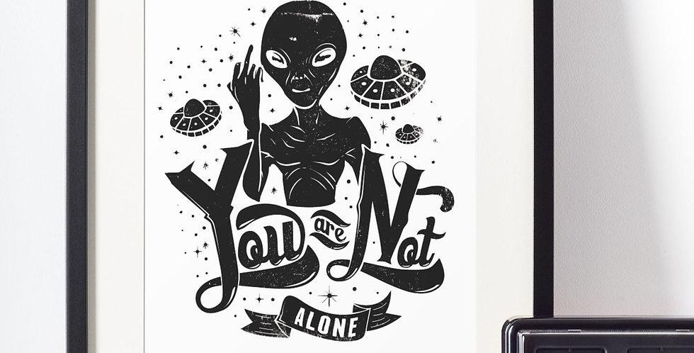 Affiche Dessin Alien you are not alone 475