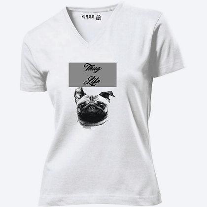 T-shirt Femme Col V femme Chien funny thug life