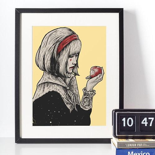 Affiche illustration dessin femme + pomme