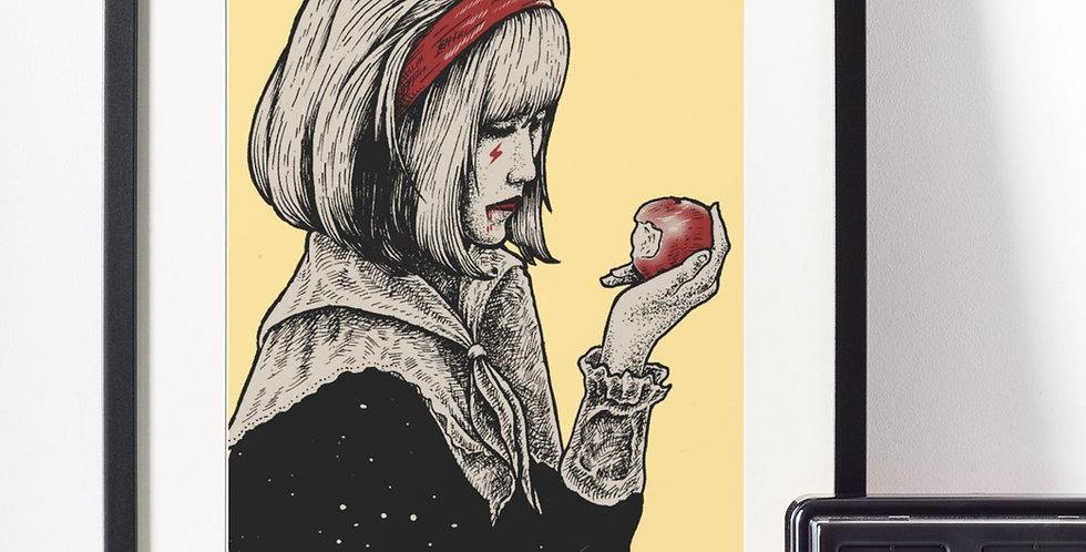 Affiche illustration dessin femme + pomme 432