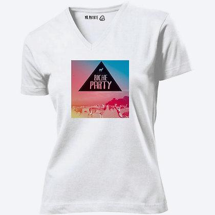 T-shirt Femme Col V Biche Party citation