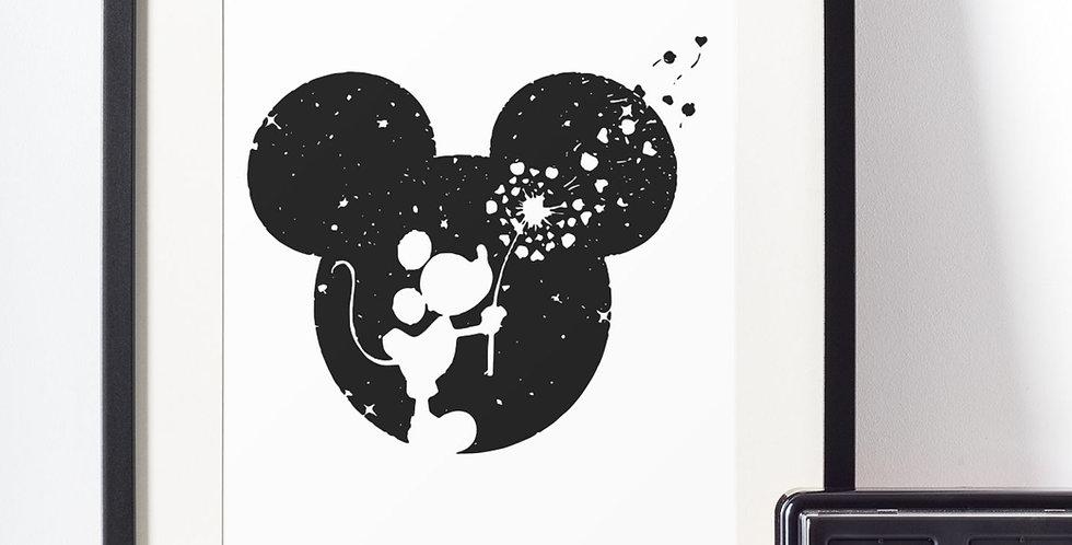 Affiche Dessin Mouse dans la lune 483