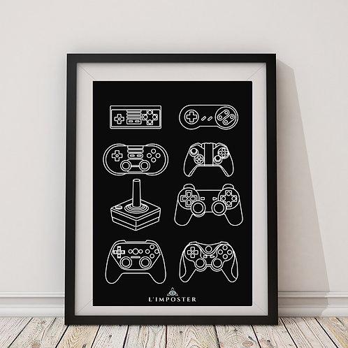 Affiche manettes jeux vidéos