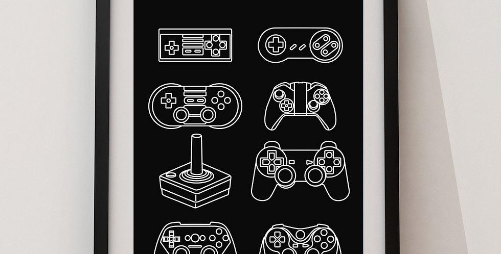 Affiche manettes jeux vidéos 261